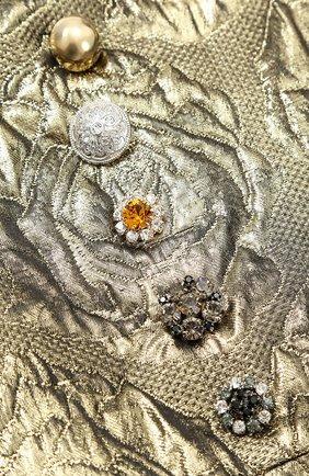 Детское мини-платье с цветочным узором и металлизированной отделкой Dolce & Gabbana золотого цвета   Фото №3
