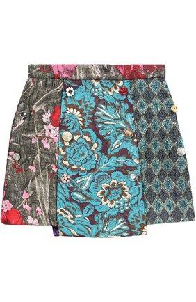 Мини-юбка асимметричного кроя с принтом и декоративными пуговицами | Фото №1