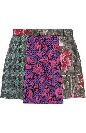 Мини-юбка асимметричного кроя с принтом и декоративными пуговицами | Фото №2