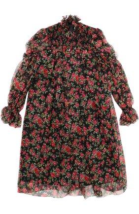 Детское шелковое платье свободного кроя с принтом Dolce & Gabbana черного цвета | Фото №1