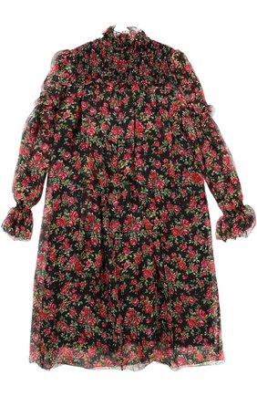 Детское шелковое платье свободного кроя с принтом Dolce & Gabbana черного цвета | Фото №2