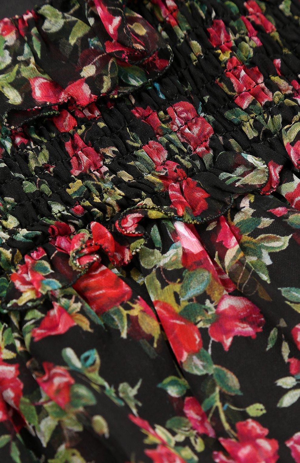 Детское шелковое платье свободного кроя с принтом Dolce & Gabbana черного цвета | Фото №3