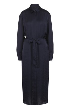 Однотонное платье-рубашка с поясом The Row темно-синее | Фото №1