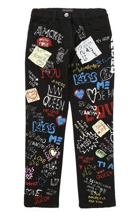 Детские джинсы прямого кроя с принтом Dolce & Gabbana черного цвета | Фото №1