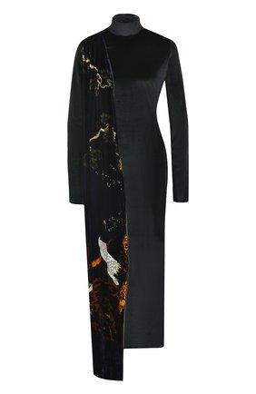 Платье-миди с длинным рукавом и воротником-стойкой | Фото №1