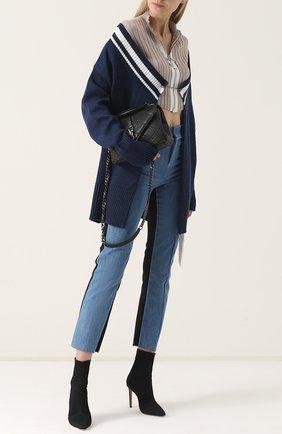 Шерстяной кардиган фактурной вязки Act n1 темно-синий   Фото №1