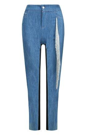 Укороченные джинсы с бахромой | Фото №1