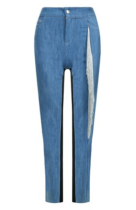 Укороченные джинсы с бахромой Act n1 синие   Фото №1