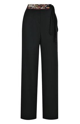 Шерстяные широкие брюки с поясом | Фото №1