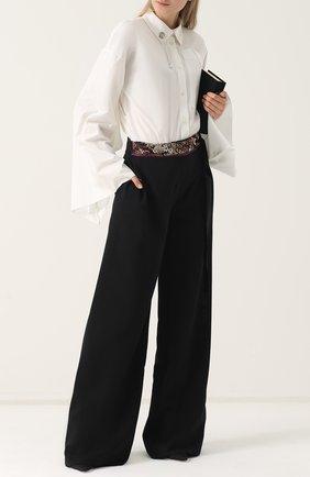 Шерстяные широкие брюки с поясом Act n1 черные   Фото №1