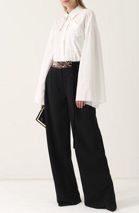 Женская хлопковая блуза с широкими расклешенными рукавами Act n1, цвет белый, арт. PFT1708 в ЦУМ   Фото №1
