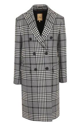 Двубортное шерстяное пальто в клетку Fay серого цвета | Фото №1