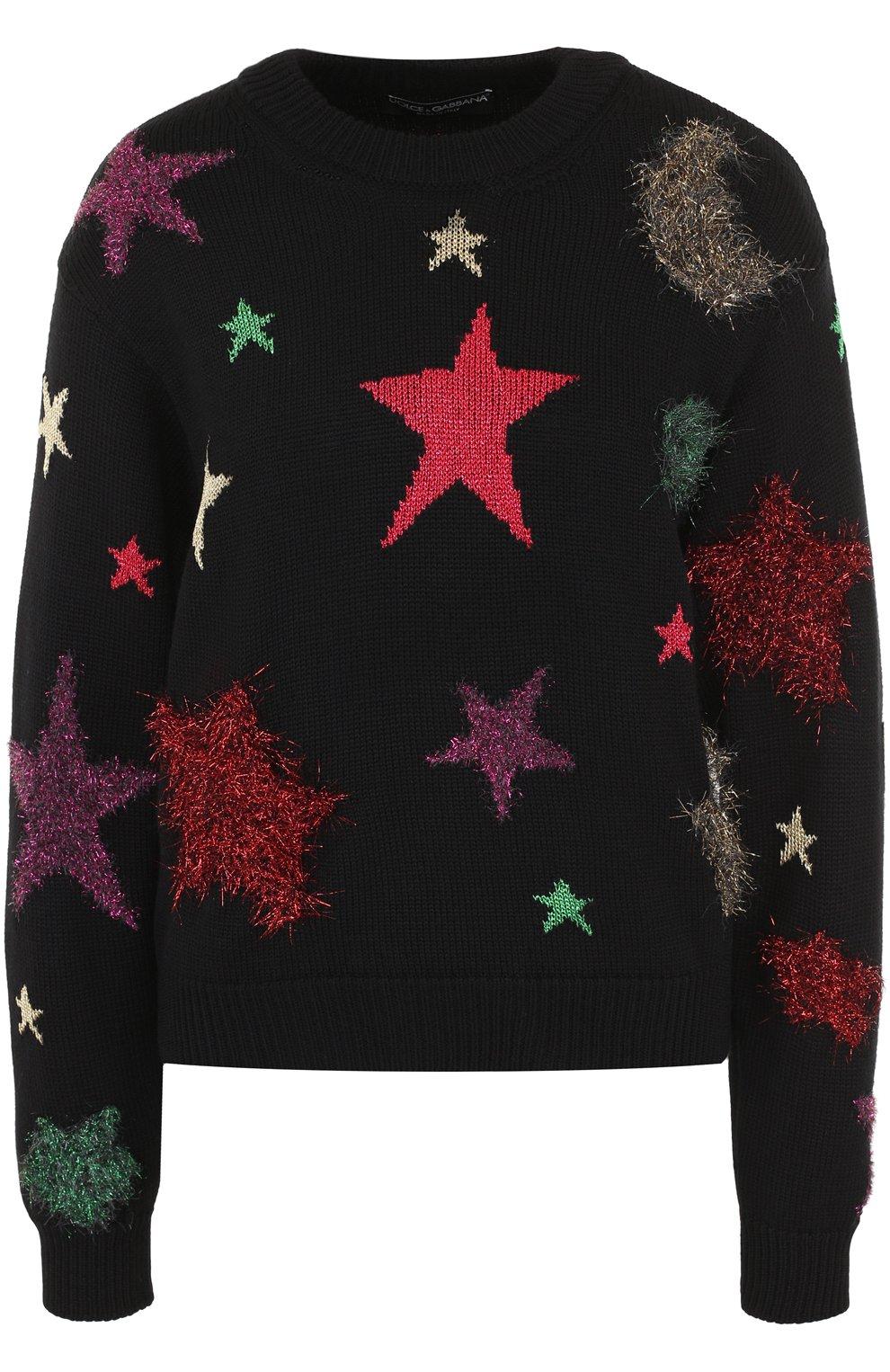 Шерстяной пуловер с отделкой в виде звезд   Фото №1