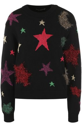 Шерстяной пуловер с отделкой в виде звезд Dolce & Gabbana черный   Фото №1