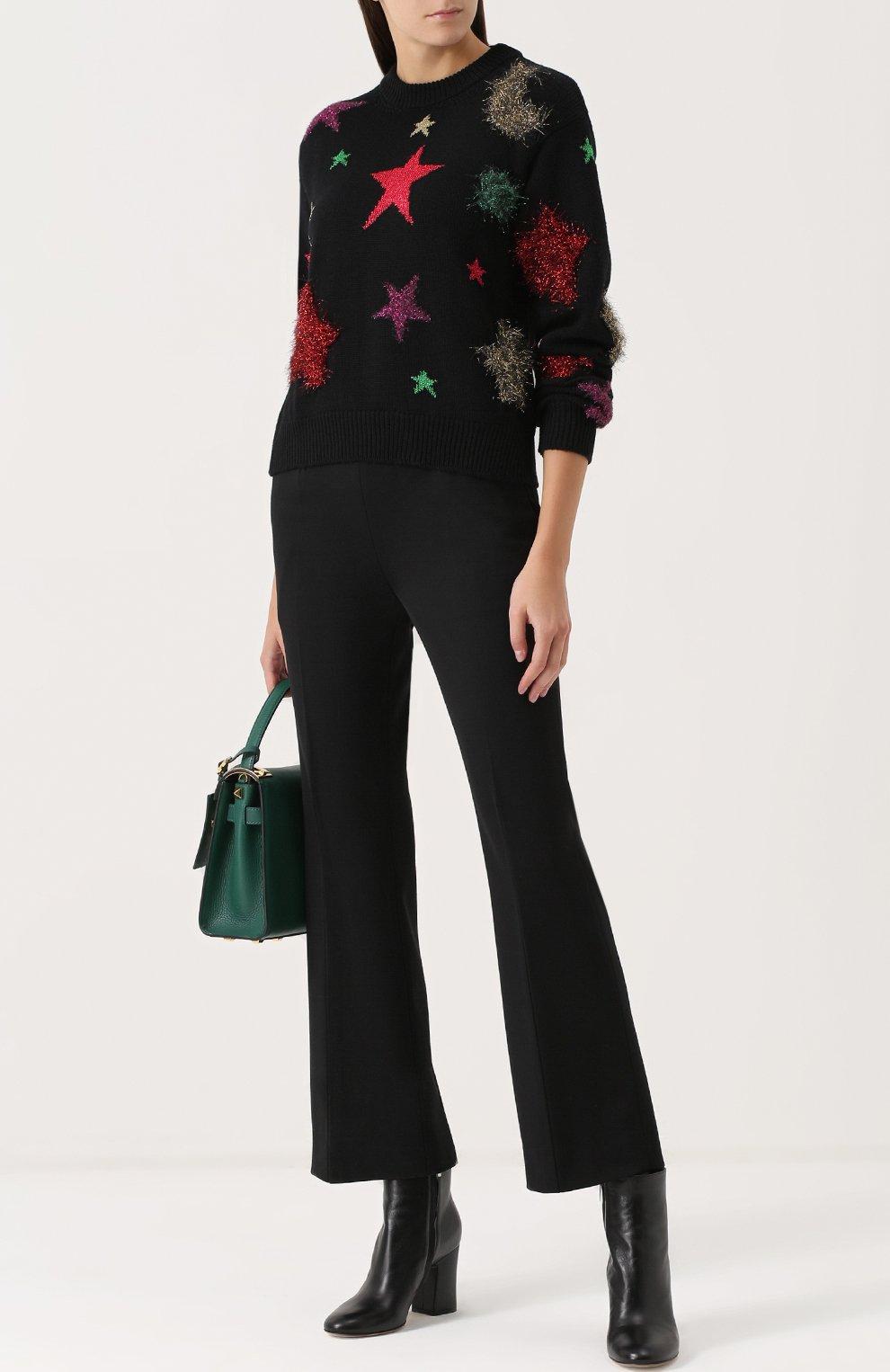 Шерстяной пуловер с отделкой в виде звезд Dolce & Gabbana черный   Фото №2