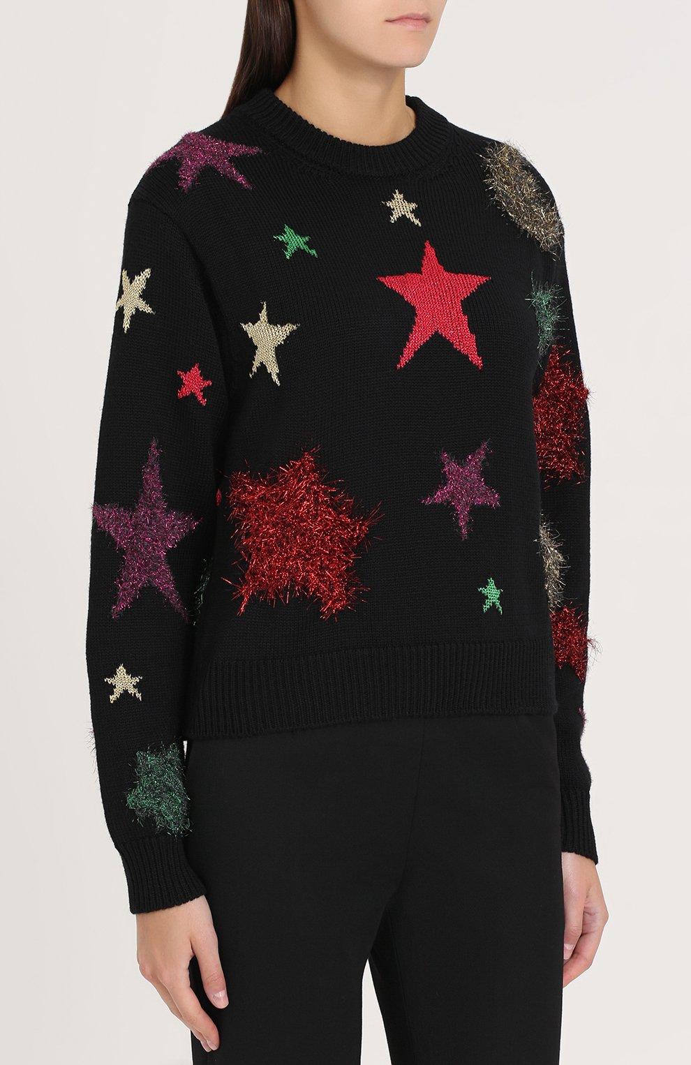 Шерстяной пуловер с отделкой в виде звезд Dolce & Gabbana черный   Фото №3