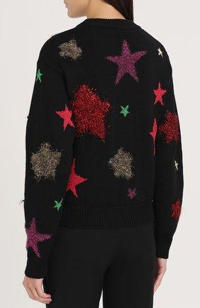 Шерстяной пуловер с отделкой в виде звезд Dolce & Gabbana черный   Фото №4