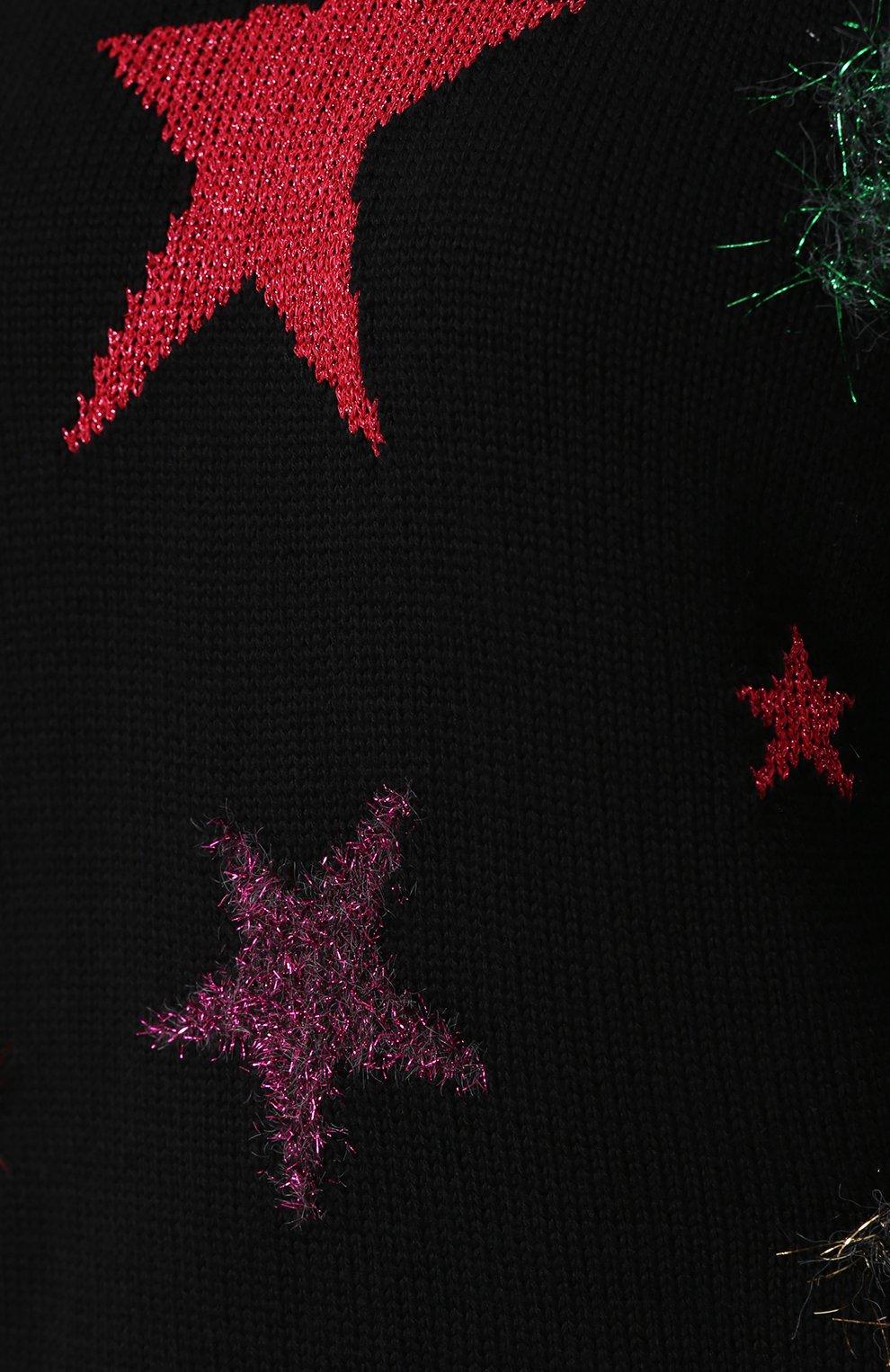 Шерстяной пуловер с отделкой в виде звезд Dolce & Gabbana черный   Фото №5