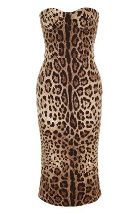 Шелковое платье-бюстье с леопардовым принтом | Фото №1