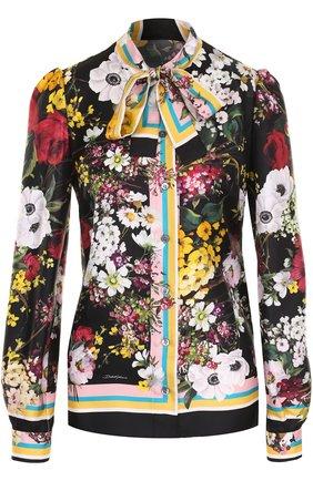 Шелковая блуза с воротником аскот и принтом Dolce & Gabbana разноцветная | Фото №1