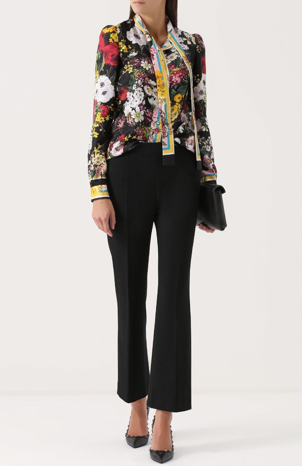 Шелковая блуза с воротником аскот и принтом Dolce & Gabbana разноцветная | Фото №2