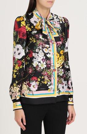 Шелковая блуза с воротником аскот и принтом Dolce & Gabbana разноцветная | Фото №3