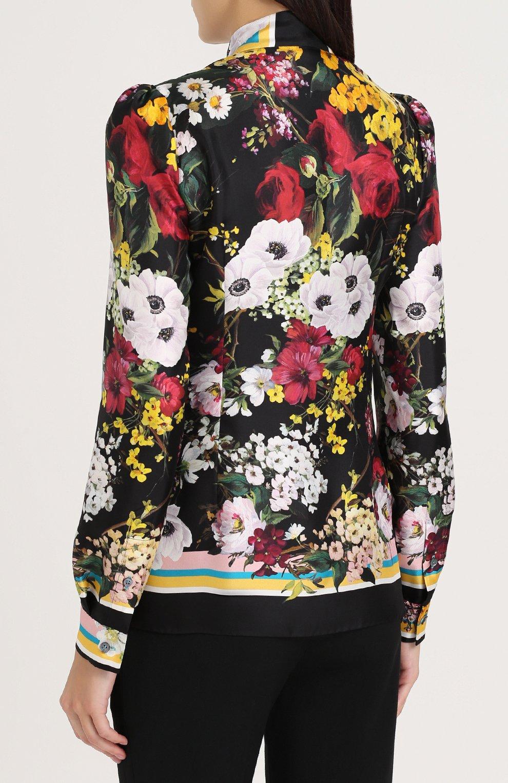 Шелковая блуза с воротником аскот и принтом Dolce & Gabbana разноцветная | Фото №4