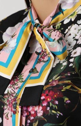 Шелковая блуза с воротником аскот и принтом Dolce & Gabbana разноцветная | Фото №5