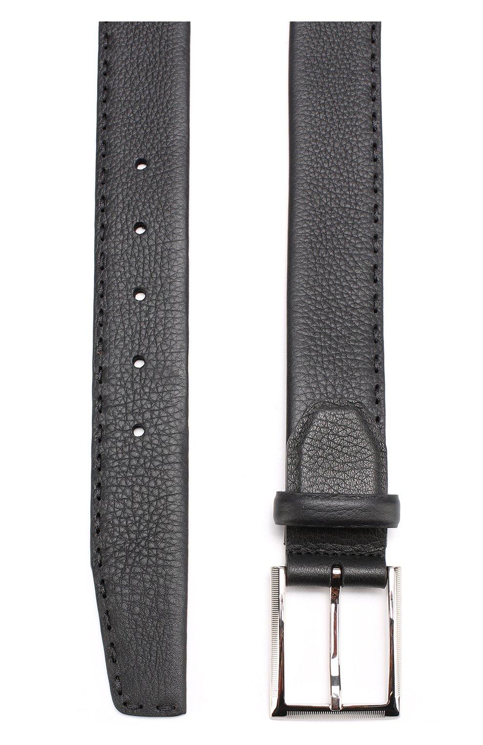 Мужской кожаный ремень KITON черного цвета, арт. USC18PN00924   Фото 2