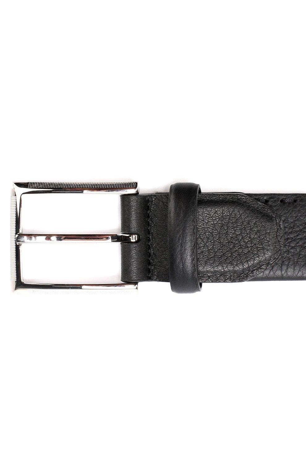 Мужской кожаный ремень KITON черного цвета, арт. USC18PN00924   Фото 3