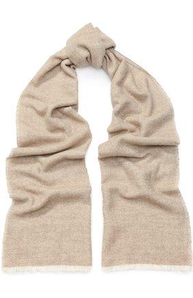 Мужской кашемировый шарф с необработанным краем KITON светло-бежевого цвета, арт. USCIACX03P81   Фото 1