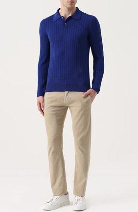 Шерстяное поло с длинными рукавами Fabrizio Del Carlo синее | Фото №1