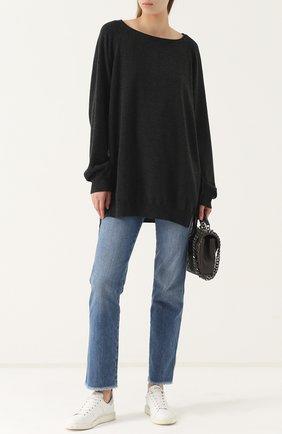 Удлиненный кашемировый пуловер свободного кроя Fine Edge серый | Фото №1