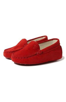 Детского замшевые пинетки TOD'S красного цвета, арт. UXB00G00I70HR0R402 | Фото 1