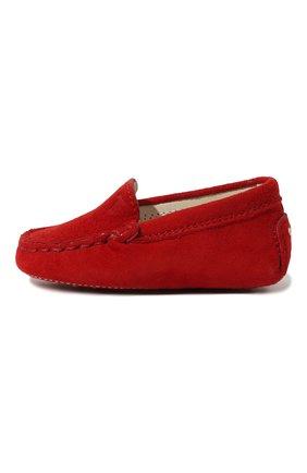 Детского замшевые пинетки TOD'S красного цвета, арт. UXB00G00I70HR0R402 | Фото 2