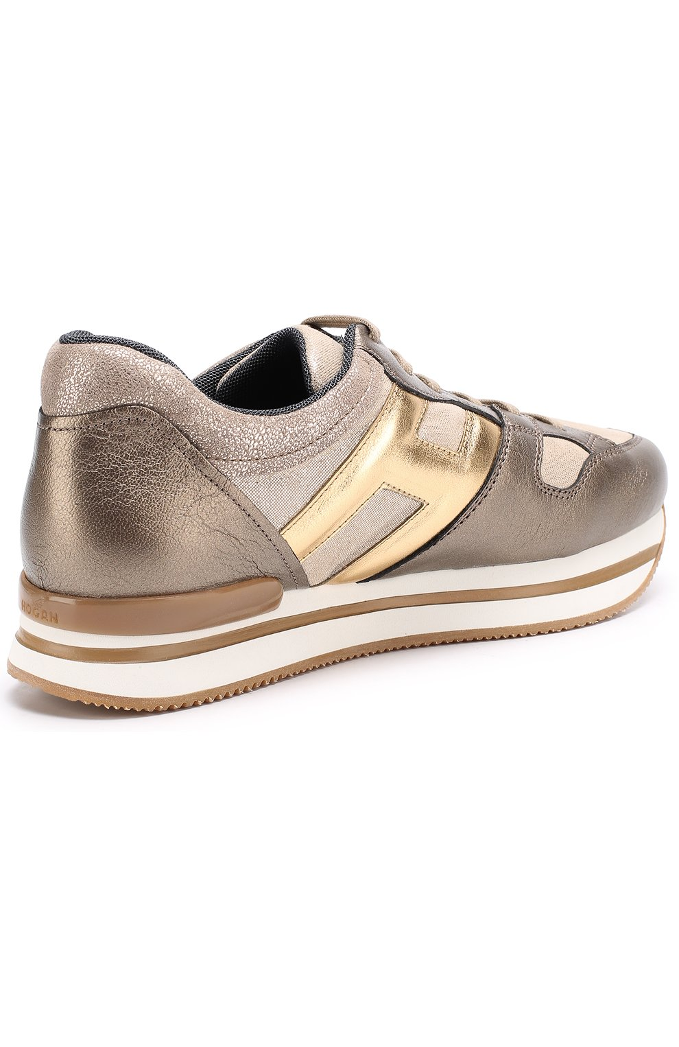 Кожаные кроссовки с металлизированной отделкой на толстой подошве | Фото №3