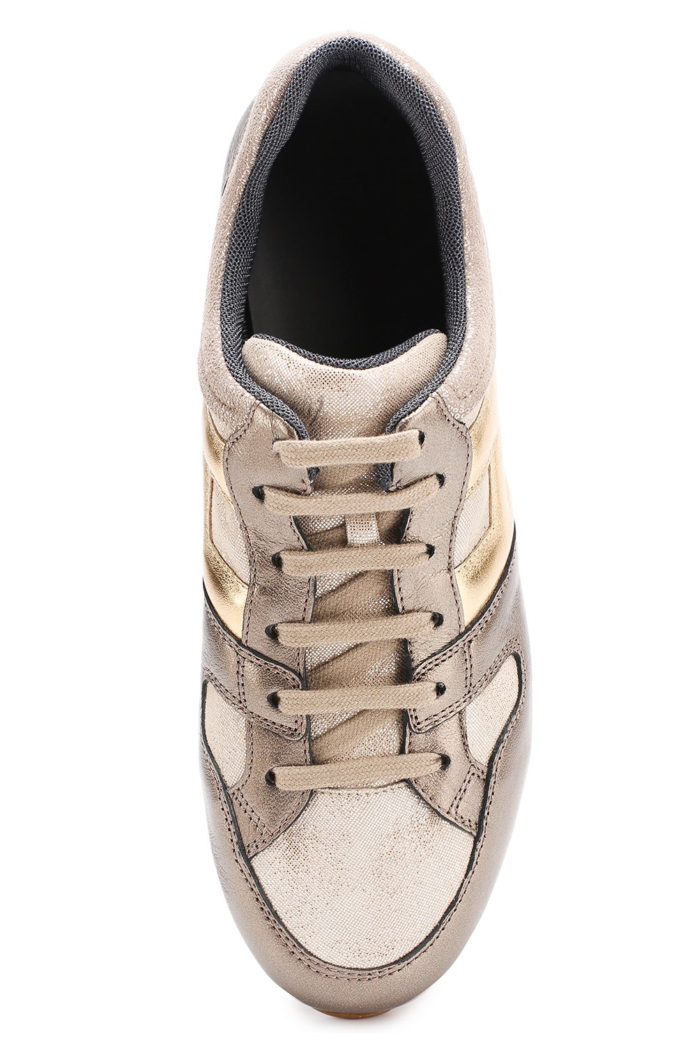 Кожаные кроссовки с металлизированной отделкой на толстой подошве | Фото №4