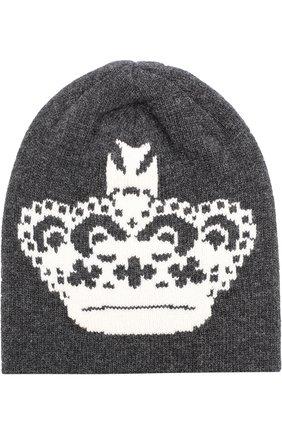 Шерстяная шапка бини Dolce & Gabbana серого цвета | Фото №1