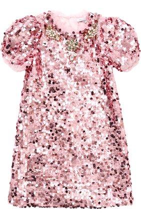 Мини-платье с пайетками и кристаллами | Фото №1