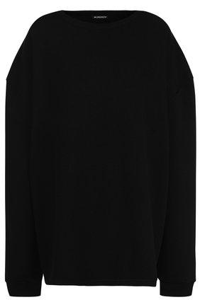 Хлопковый пуловер с полупрозрачной вставкой на спинке Ann Demeulemeester черный | Фото №1