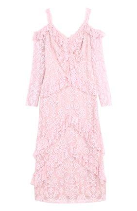 Кружевное приталенное платье с открытыми плечами Tadashi Shoji светло-розовое | Фото №1