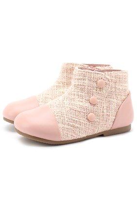 Детские кожаные ботинки с текстильной отделкой Age of Innocence розового цвета   Фото №1