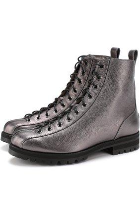 Ботинки Brooke из металлизированной кожи на шнуровке | Фото №1