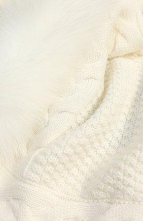 Шарф из смеси шерсти и кашемира с меховой отделкой Yves Salomon белый   Фото №1