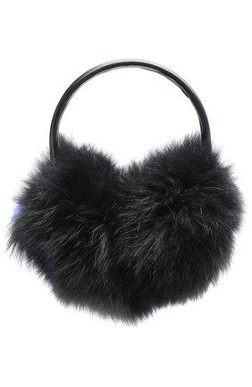 Наушники из меха лисы с отделкой из перьев Yves Salomon черного цвета   Фото №1