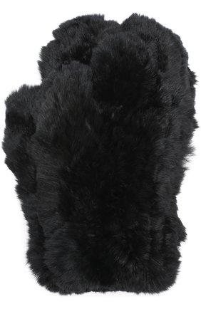 Варежки из меха кролика Yves Salomon черные   Фото №1