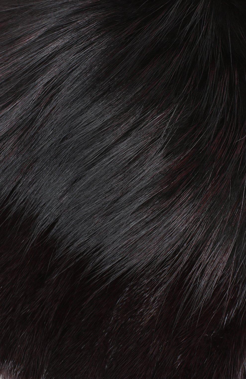 Шапка из мехи норки и лисы Yves Salomon бордового цвета | Фото №3