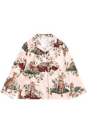 Детская шелковая блуза в пижамном стиле с принтом Dolce & Gabbana розового цвета | Фото №1