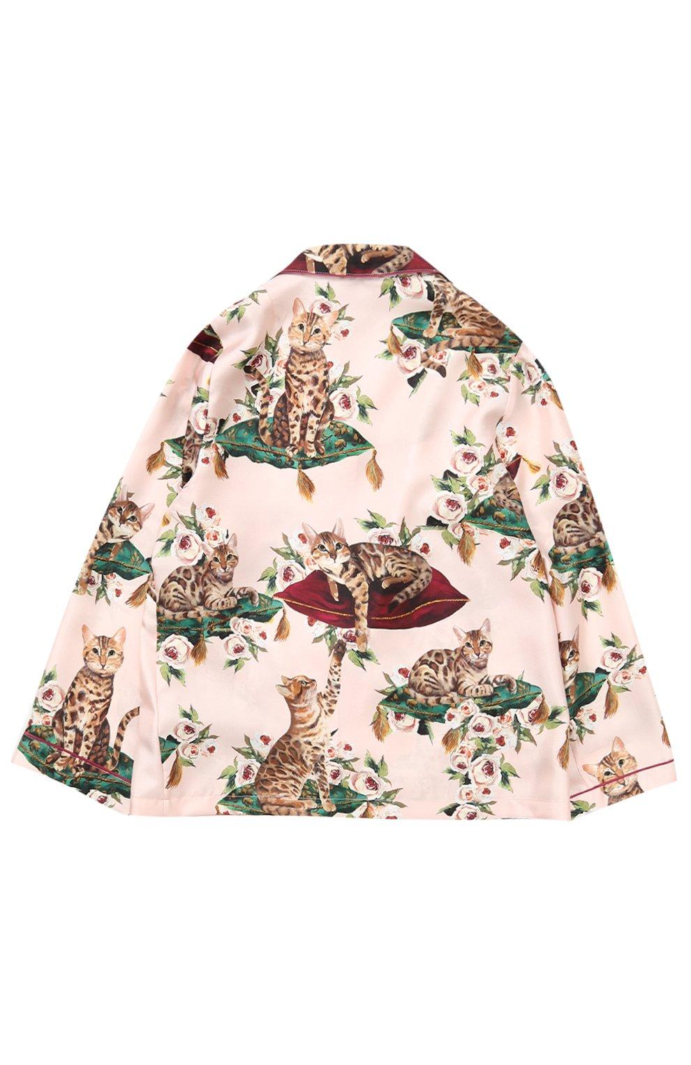 Детская шелковая блуза в пижамном стиле с принтом Dolce & Gabbana розового цвета | Фото №2