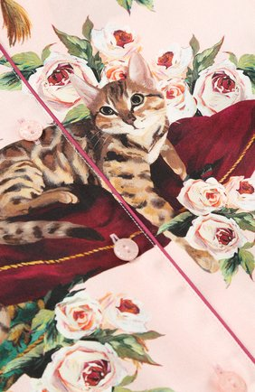 Детская шелковая блуза в пижамном стиле с принтом Dolce & Gabbana розового цвета | Фото №3